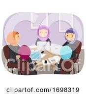 Teens Girls Qatar Group Study Illustration