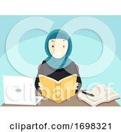 Teen Girl Student Qatar Study Illustration