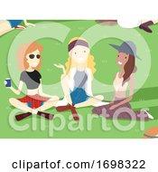 Teen Girls Festival Park Illustration