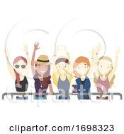 Poster, Art Print Of Teen Girls Festival Cheer Illustration