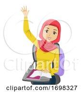 Teen Girl Muslim Raise Hands Class Illustration