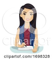 Teen Girl Southeast Asian Write Notes Illustration