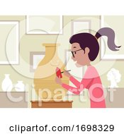 Girl Antique Appraiser Job Illustration