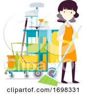 Girl Cleaning Service Job Illustration