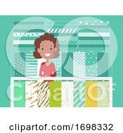 Girl Fabric Center Illustration