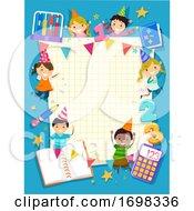 Stickman Kids Math Party Frame Illustration