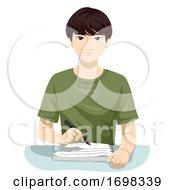 Teen Boy Asian Write Notes Illustration
