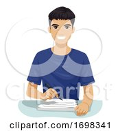 Teen Boy South East Asian Write Notes Illustration