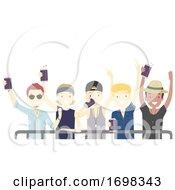 Poster, Art Print Of Teens Guys Festival Beer Drinks Illustration