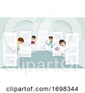 Teen Guys Dorm Welcome Doors Illustration