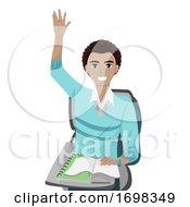 Teen Guy African Raise Hands Illustration