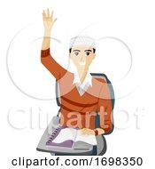 Teen Guy Muslim Raise Hands Illustration