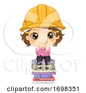 Kid Girl Engineer Sit Books Illustration