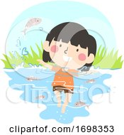Kid Girl Wetland Animal Fish Illustration