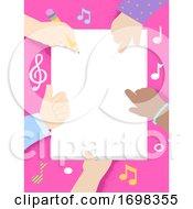 Poster, Art Print Of Kids Hands Write Song Lyrics Frame Illustration