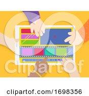 Poster, Art Print Of Kids Hands Edit Film Tablet Illustration