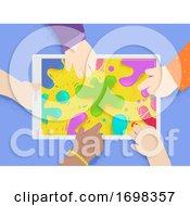 Poster, Art Print Of Kids Hands Tablet Splat Colors Illustration