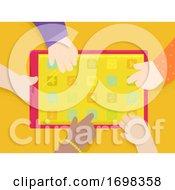 Poster, Art Print Of Hands Kids Tablet Apps Illustration