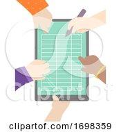 Hands Kids Pen Tablet Table Illustration