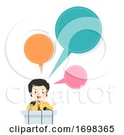 Man Press Conference Speech Bubbles Illustration
