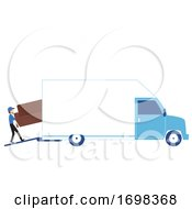 Man Moving Business Van Illustration