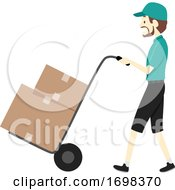 Man Moving Business Cart Illustration