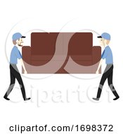 Man Moving Business Furniture Illustration