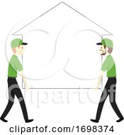 Man House Moving Business Illustration
