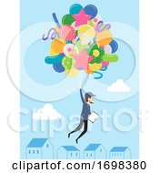 Man Balloon Delivery Job Illustration