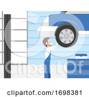 Man Auto Service Shop Illustration