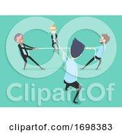 Poster, Art Print Of People Icebreaker Four Way Tug Of War Game
