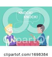 People Man Knock Knock Joke Game Illustration