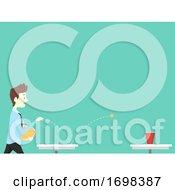 Poster, Art Print Of Man Office Icebreaker Bounce Ball Illustration
