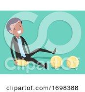 Man Office Icebreaker Balloon Pop Illustration