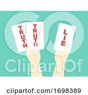 Poster, Art Print Of Hands Two Truths And Lie Game Illustration