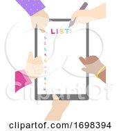 Poster, Art Print Of Hands Kids List Tablet Illustration