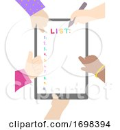 Hands Kids List Tablet Illustration
