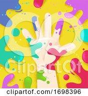 Hand Right Splat Colors Illustration
