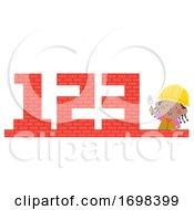 Kid Girl Construction 123 Illustration