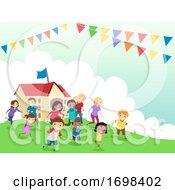 Stickman Family Day School Event Illustration