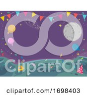 Party Outer Space Theme Buntings Background