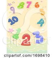 Numbers Beach Sand Border Illustration