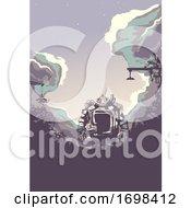Poster, Art Print Of Junk Yard Robot Silhouette Background Illustration