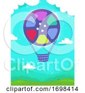 Film Reel Hot Air Balloon Background Illustration
