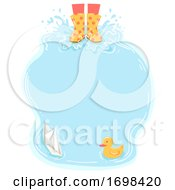 Poster, Art Print Of Puddle Kid Boots Play Frame Illustration