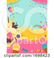 Poster, Art Print Of Sweets Ice Cream Candies Colors Background
