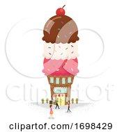 Poster, Art Print Of Miniature People Ice Cream Building Illustration