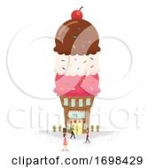 Miniature People Ice Cream Building Illustration