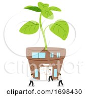 Scientists Plant Laboratory Building Illustration
