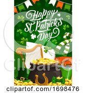 St Ptarick Day Green Hat Pot With Gold Shamrock